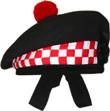 Black Balmoral Hat with White/Red Dicing