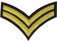 Embroidered Gold wire on black cloth 2 Stripe Chevron Corporal insignia badge