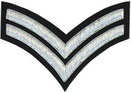 Embroidered Silver wire on black cloth 2 Stripe Chevrons Corporal insignia badge