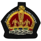 Embroidered King's Crown Gold Wire on Black Cloth