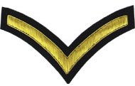Embroidered gold wire on black cloth 1 Stripe Chevron Lance Corporal insignia badge