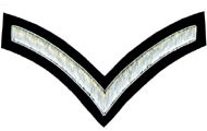 Embroidered Silver wire on black cloth 1 Stripe Chevron Lance Corporal insignia badge