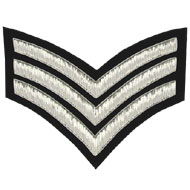 Embroidered Silver wire on black cloth 3 Stripe Chevrons Sergeant insignia badge