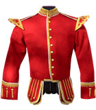 Red / Scarlet Drum Major Highland Pipe and Drum Band Kilt Doublet with gold metallic braid trim