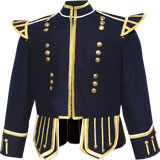 Dark Blue Highland Pipe and Drum Band doublet with 18 button zipper front and gold metallic braid trims