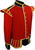 Red Drum Major Doublet with Dark Blue Facings and metallic braid trim