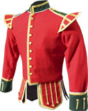 Red / Scarlet Highland Pipe Major Doublet with Gold Braid Trim
