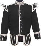 Black Pipe Major Doublet with fancy silver braid trims