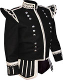 Black Highland Piper Kilt Doublet with 18 button zip front and fancy silver metallic braid trims