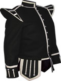 Black Highland Piper Kilt Doublet with metallic braid trims