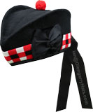 Black Glengarry Hat with white / red / black dicing