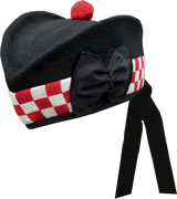 Black Glengarry Hat with white / red dicing and red toorie