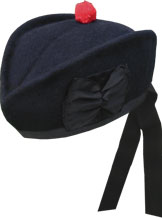 Navy Blue Glengarry Hat wit red toorie