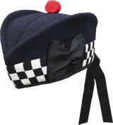 Police Navy Blue Glengarry Hat with white / black dicing and red toorie