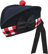 Navy Glengarry Hat with white / red / black dicing