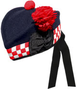 Navy Blue Glengarry Hat with white / red dicing